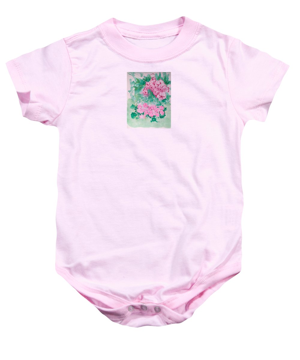 Impressionism Baby Onesie featuring the painting Garden With Pink Flowers by J R Seymour