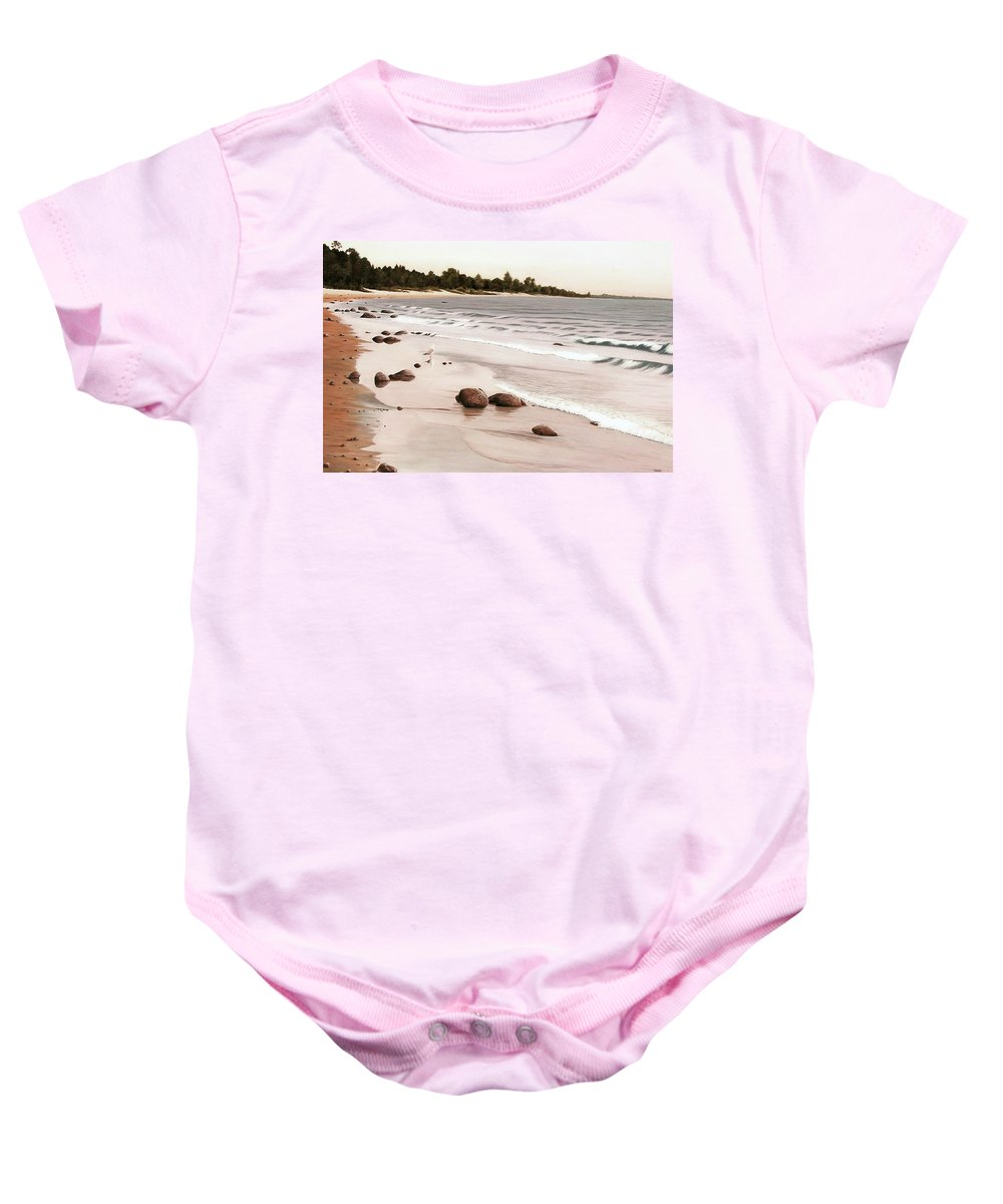 Landscapes Baby Onesie featuring the painting Georgian Bay Beach by Kenneth M Kirsch