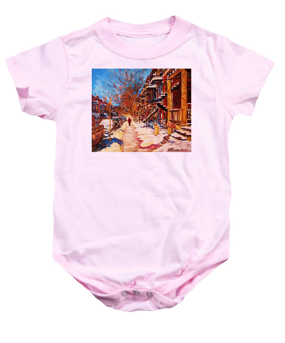 Children Baby Onesie featuring the painting Girl In The Red Jacket by Carole Spandau