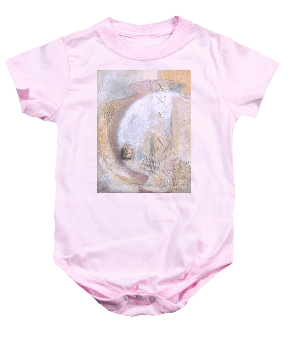 Collage Baby Onesie featuring the painting Give And Receive by Kerryn Madsen-Pietsch
