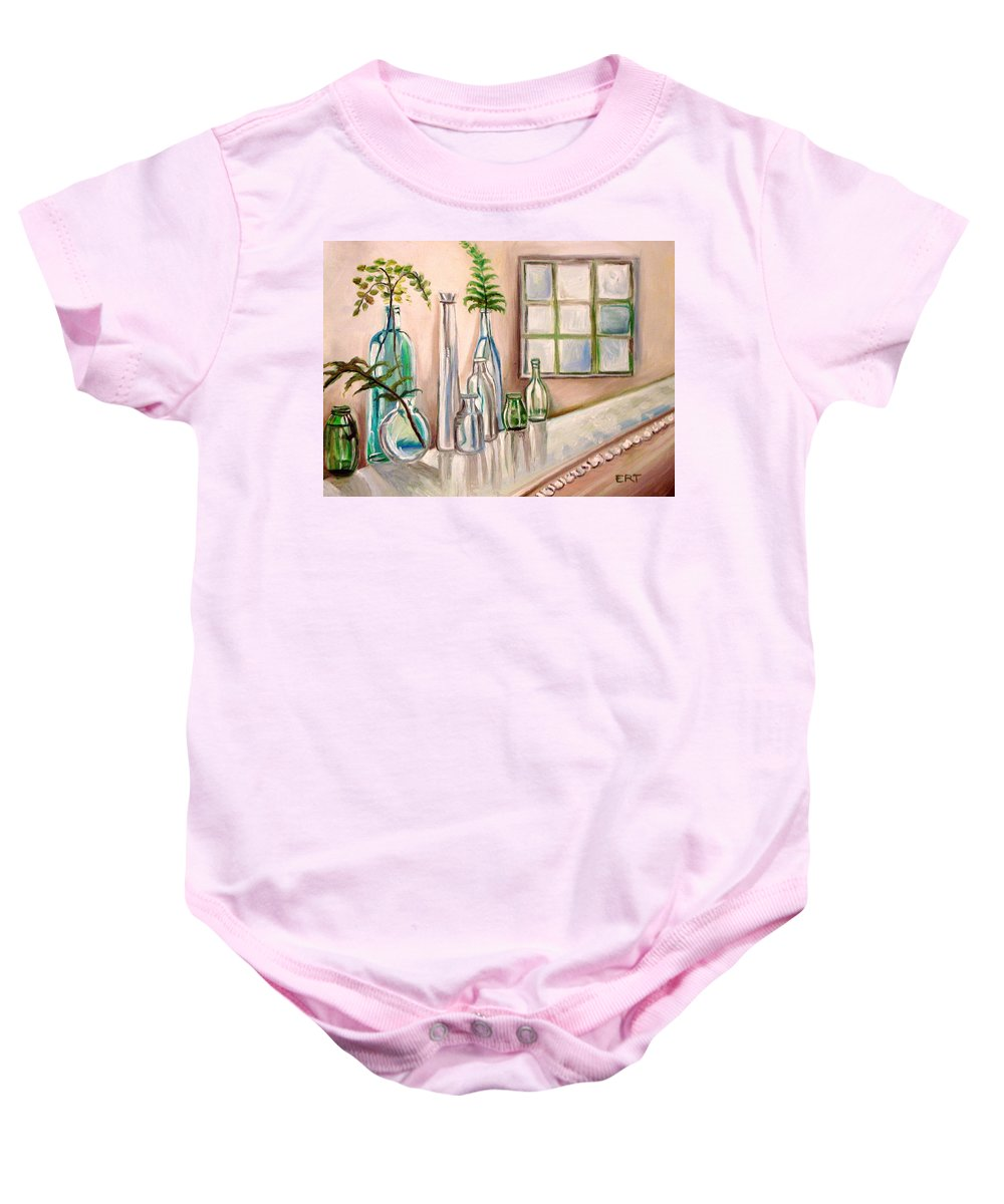 Glass Baby Onesie featuring the painting Glass And Ferns by Elizabeth Robinette Tyndall