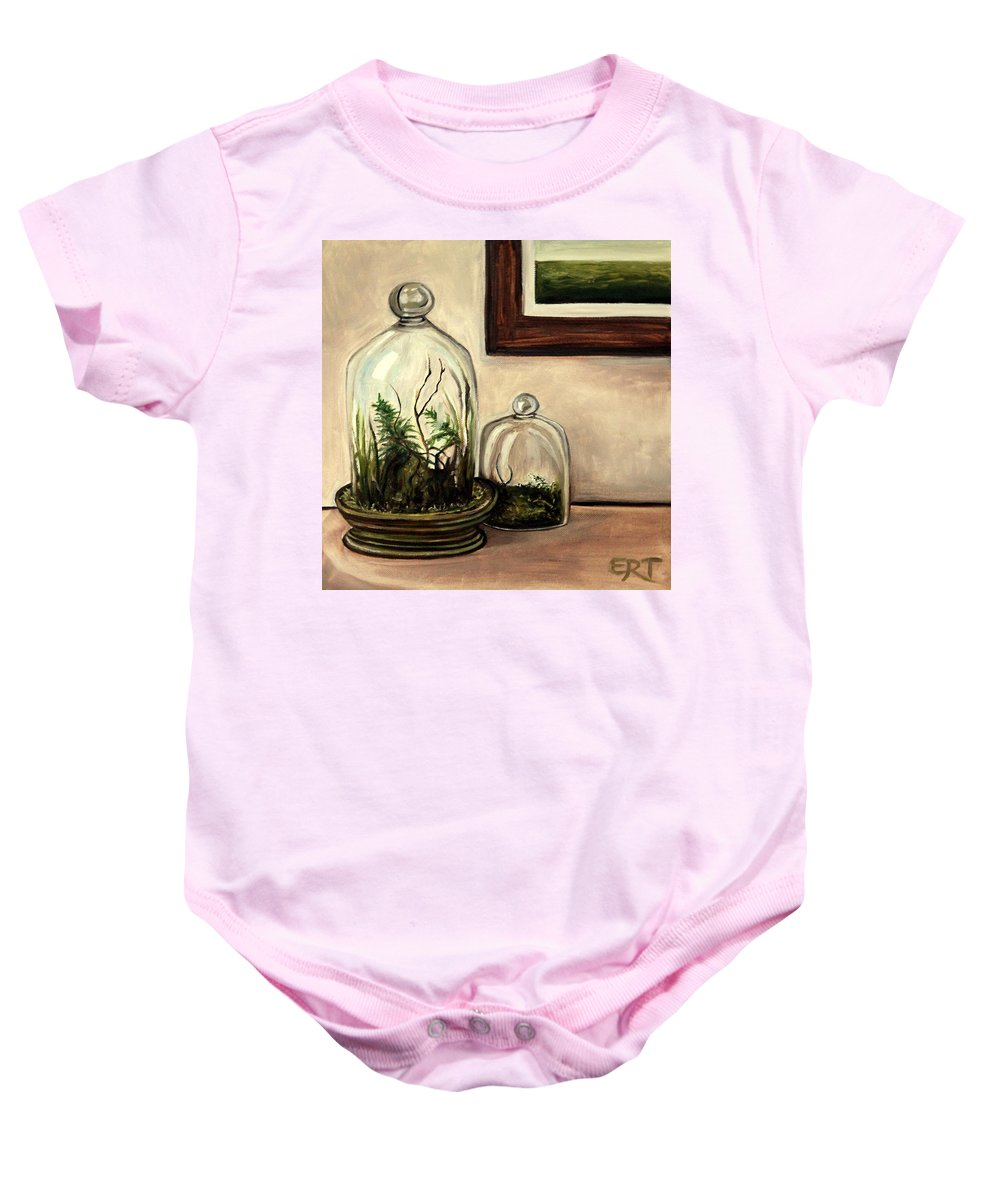 Glass Baby Onesie featuring the painting Glass Terrariums by Elizabeth Robinette Tyndall