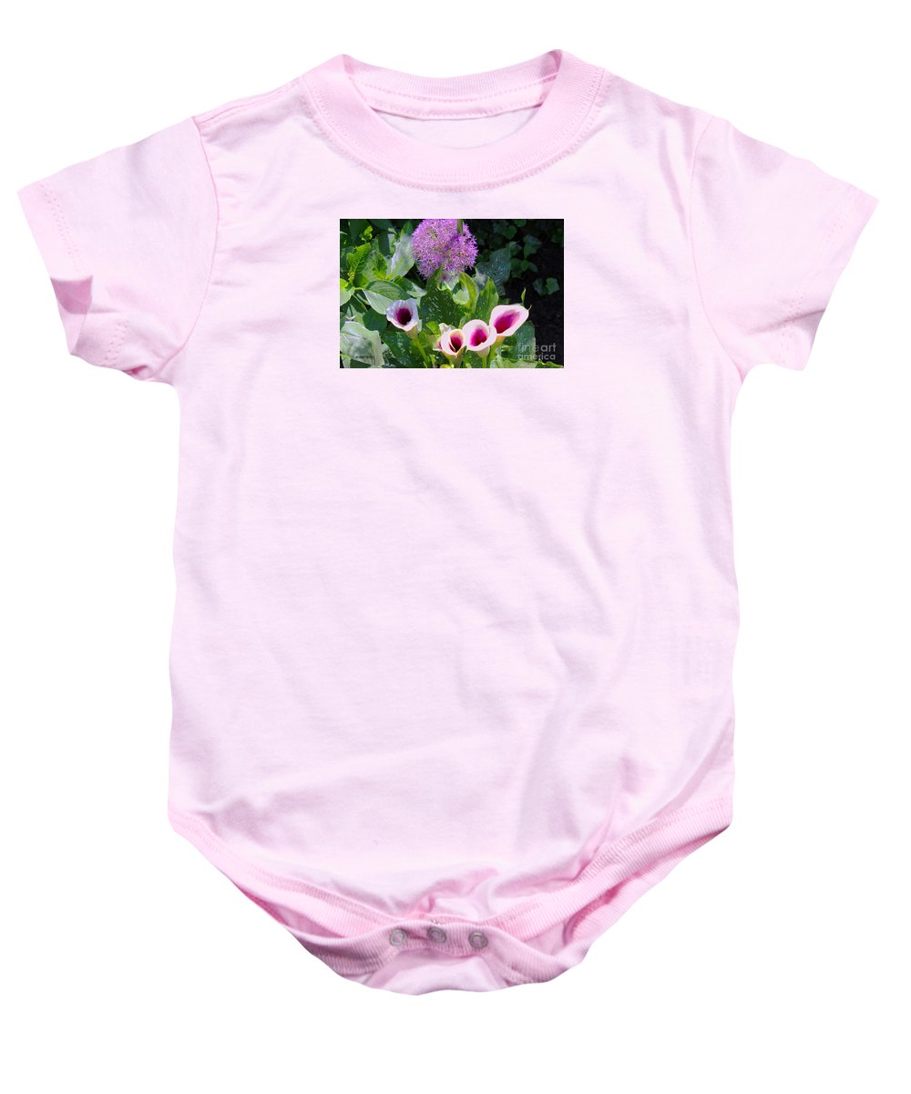 Globe Thistle Baby Onesie featuring the painting Globe Thistle And Calla Lilies by Corey Ford