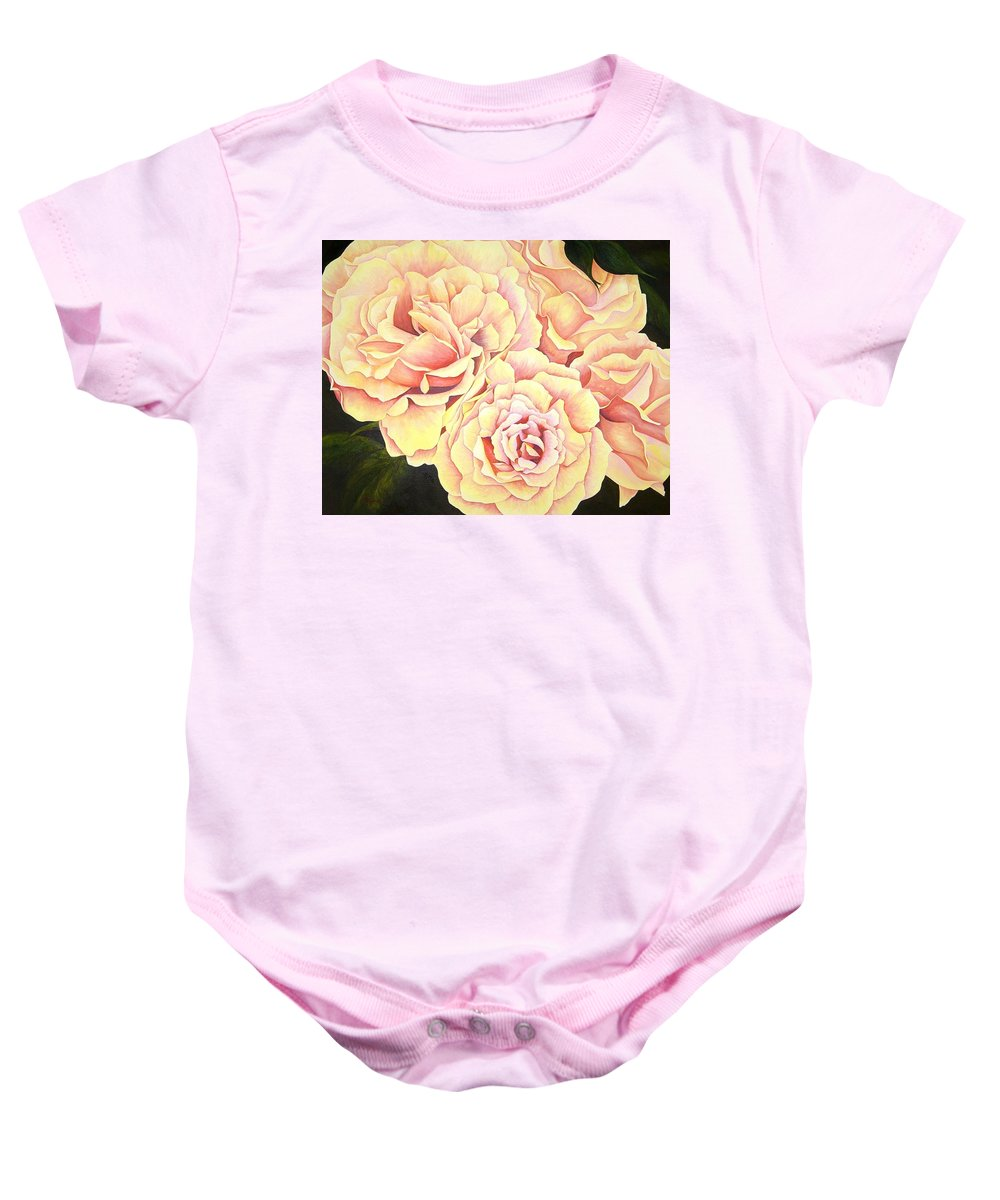Roses Baby Onesie featuring the painting Golden Roses by Rowena Finn