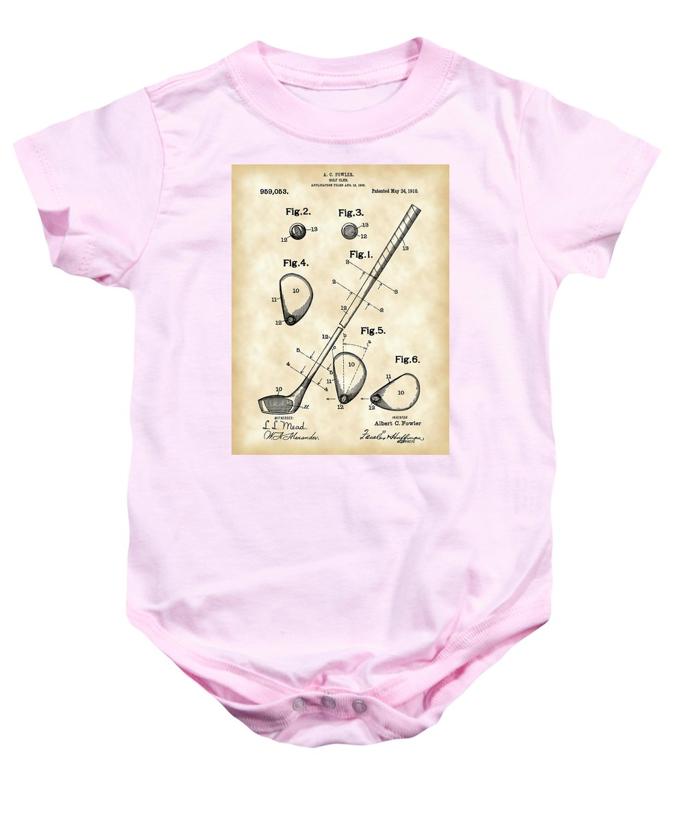 Golf Baby Onesie featuring the digital art Golf Club Patent 1909 - Vintage by Stephen Younts