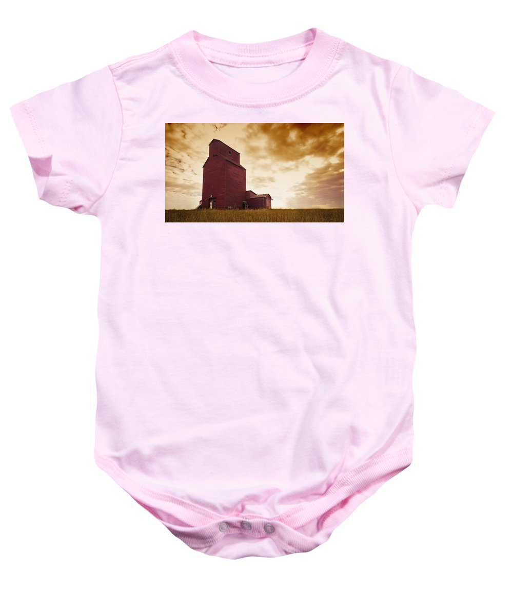 Agriculture Baby Onesie featuring the photograph Grain Elevator by Kelly Redinger