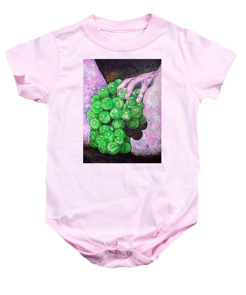 Fruits Baby Onesie featuring the painting Grapes On Butt by Ericka Herazo