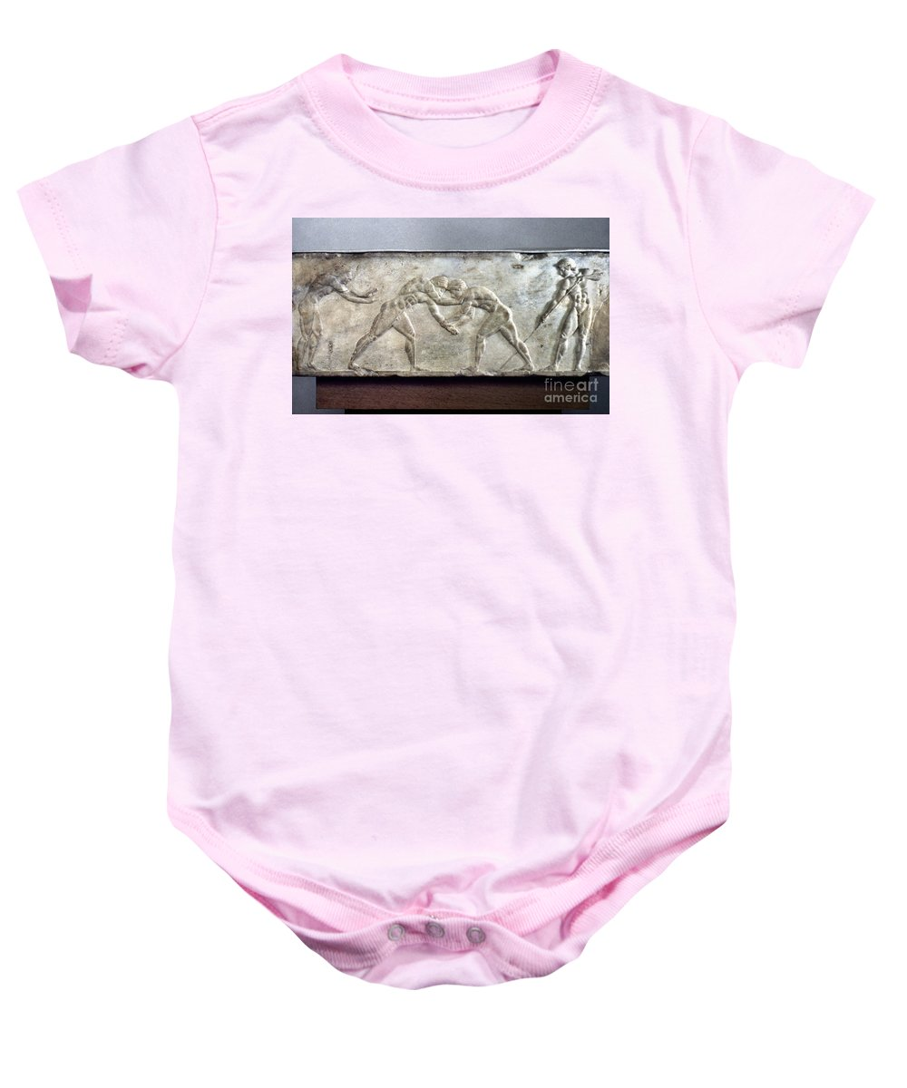 Ancient Baby Onesie featuring the photograph Greece: Wrestlers by Granger
