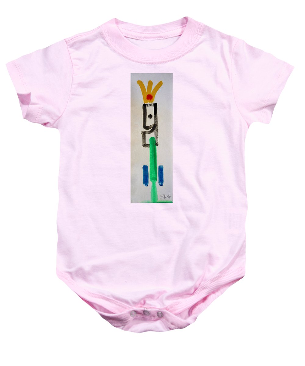 King Baby Onesie featuring the painting Green King by Charles Stuart