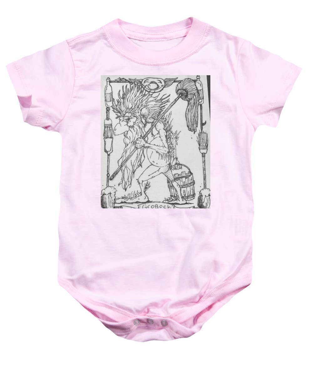 Fae Baby Onesie featuring the drawing Grogoch by Jason Strong