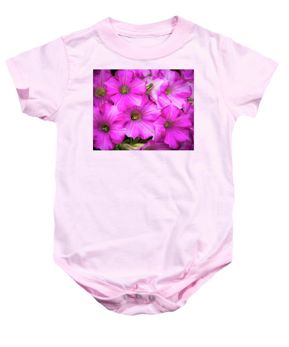 Beautiful Baby Onesie featuring the photograph Grouping Of Petunias by Ken Wolter