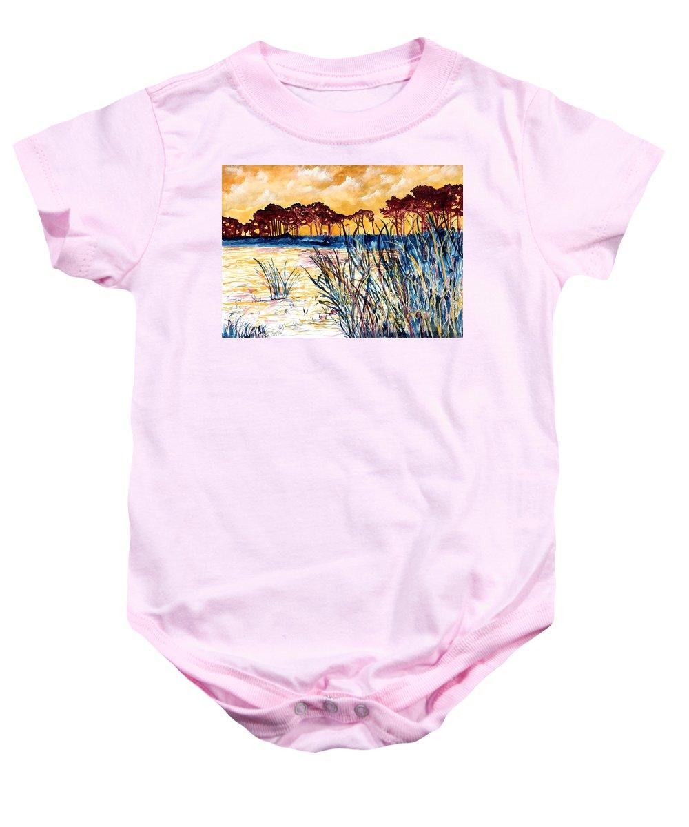 Gulf Coast Baby Onesie featuring the painting Gulf coast seascape tropical art print by Derek Mccrea