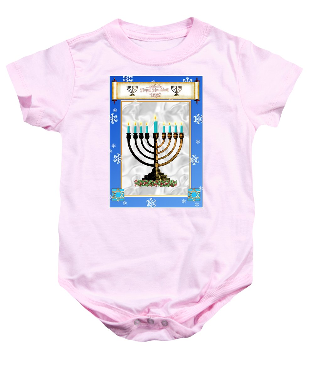 Hanukkah Baby Onesie featuring the digital art Happy Hanukkah by Melissa A Benson