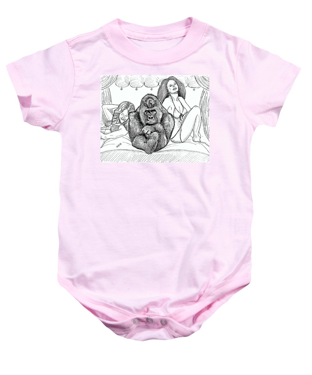 Drawings Baby Onesie featuring the drawing Happy Hour by George I Perez