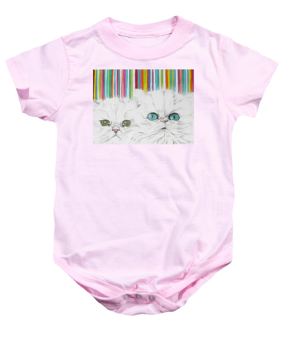 Cat Painting Baby Onesie featuring the pastel Harley And Chloe by Michelle Hayden-Marsan