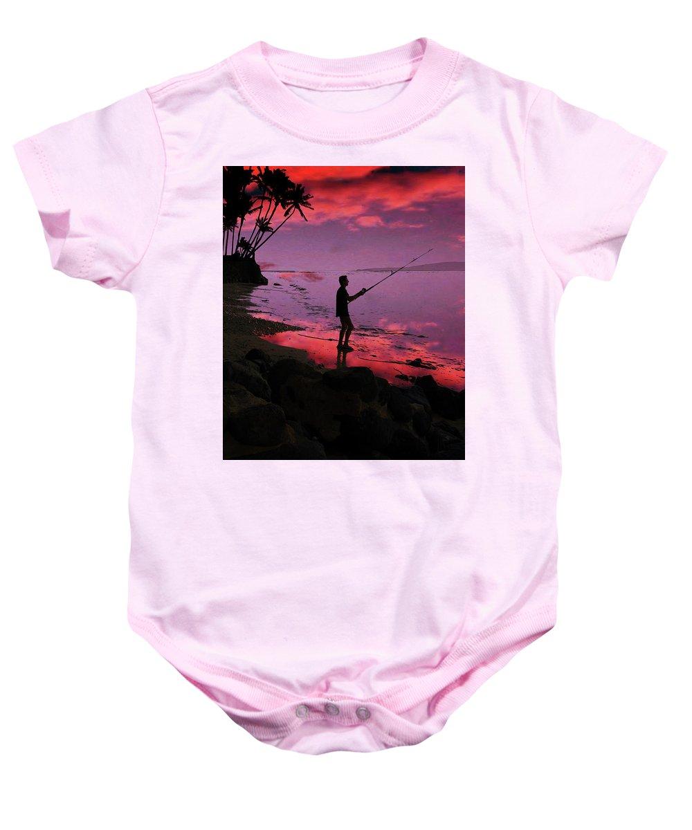 Hawaiian Baby Onesie featuring the painting Hawaiian Fishing On Halama Beach At Sunset by Kedoki