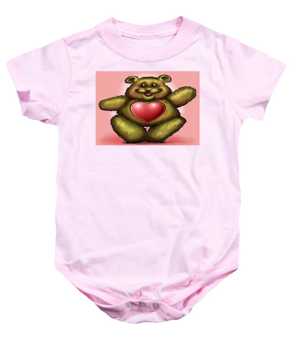 Heart Baby Onesie featuring the greeting card Heart Bear by Kevin Middleton