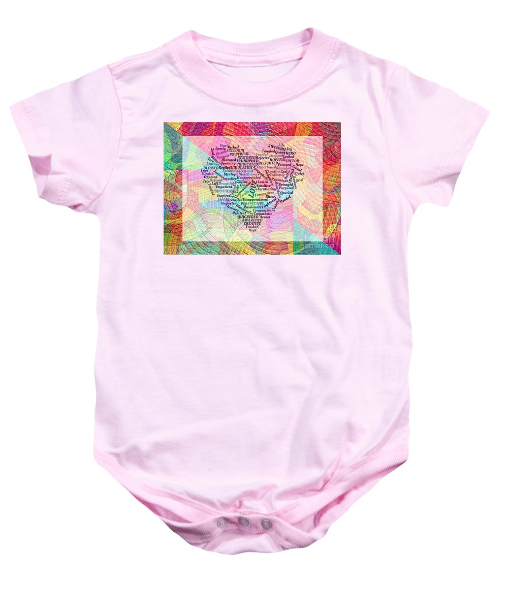 Word Graphic Baby Onesie featuring the photograph Heartfull Messages by Trent Jackson
