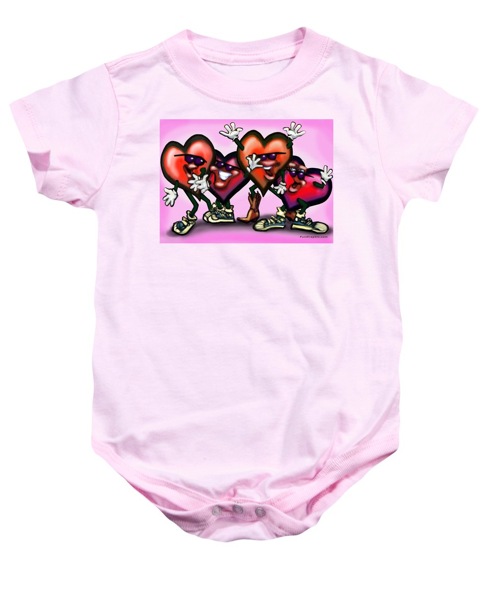 Heart Baby Onesie featuring the digital art Hearts Gang by Kevin Middleton