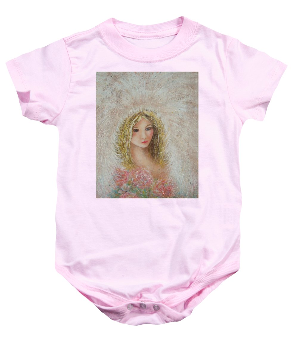 Angel Baby Onesie featuring the painting Heavenly Angel by Natalie Holland