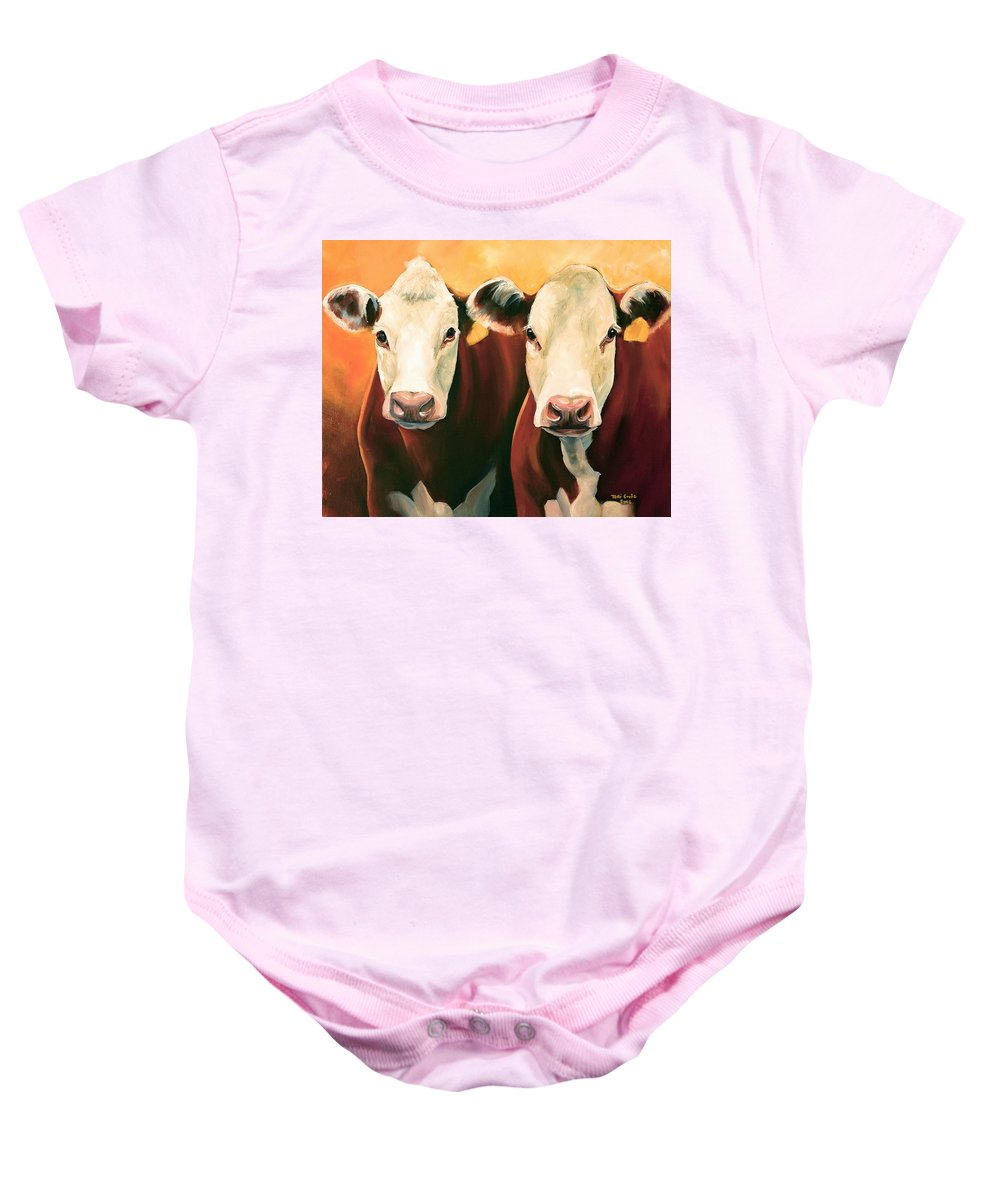Cows Baby Onesie featuring the painting Herefords by Toni Grote