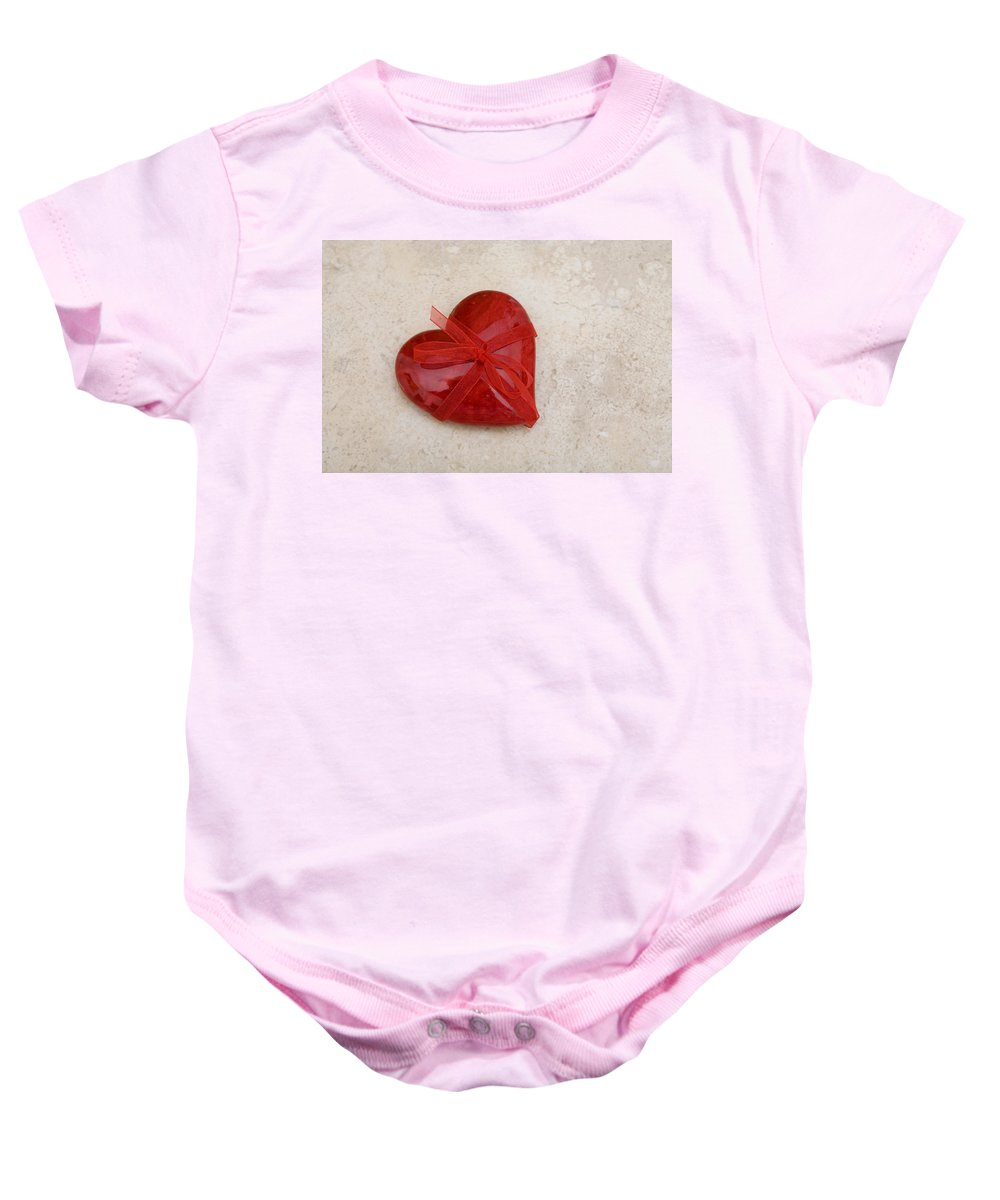 Heart Shape Baby Onesie featuring the photograph Here's My Heart by Diane Macdonald