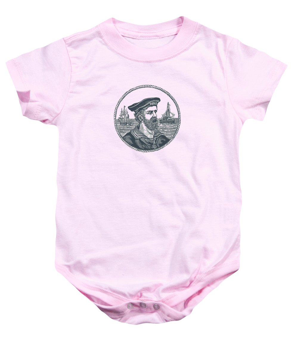 Nautical Baby Onesie featuring the drawing Hero Sea Captain - Nautical Design by World Art Prints And Designs