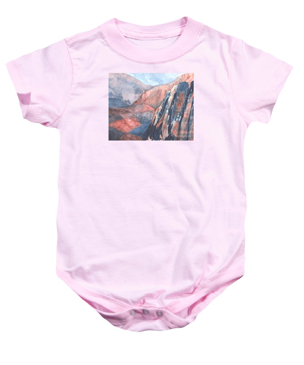 Landscape Baby Onesie featuring the painting Higher Ground by Lynn Quinn