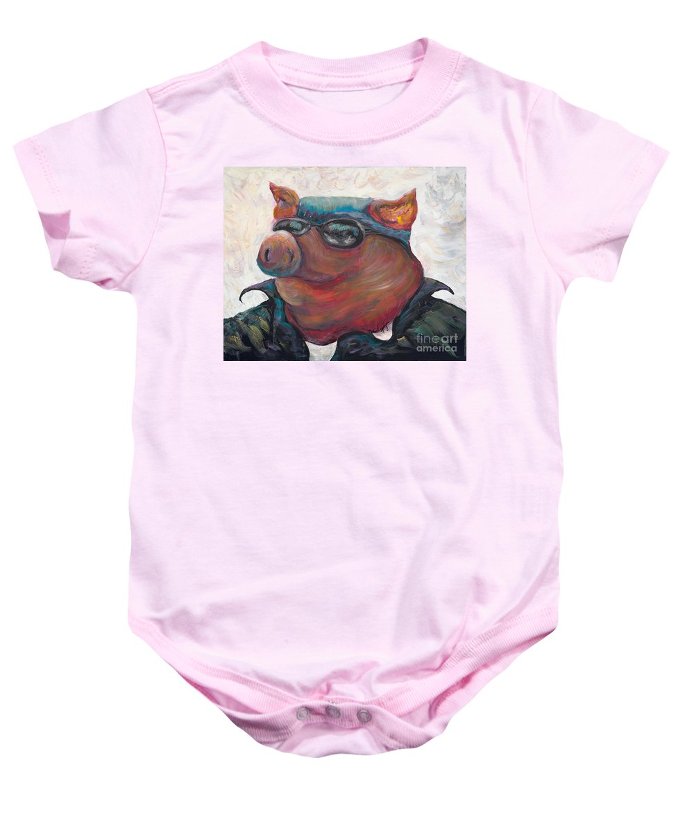 Hog Baby Onesie featuring the painting Hogley Davidson by Nadine Rippelmeyer