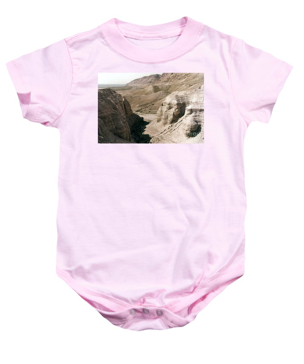 Ancient Baby Onesie featuring the photograph Holy Land: Qumran Caves by Granger