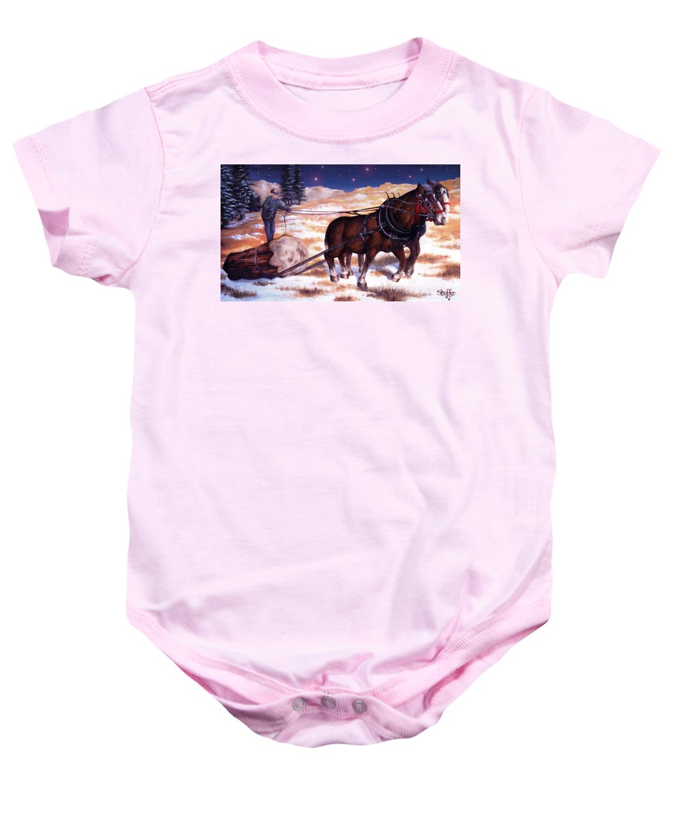 Horse Baby Onesie featuring the painting Horses Pulling Log by Curtiss Shaffer