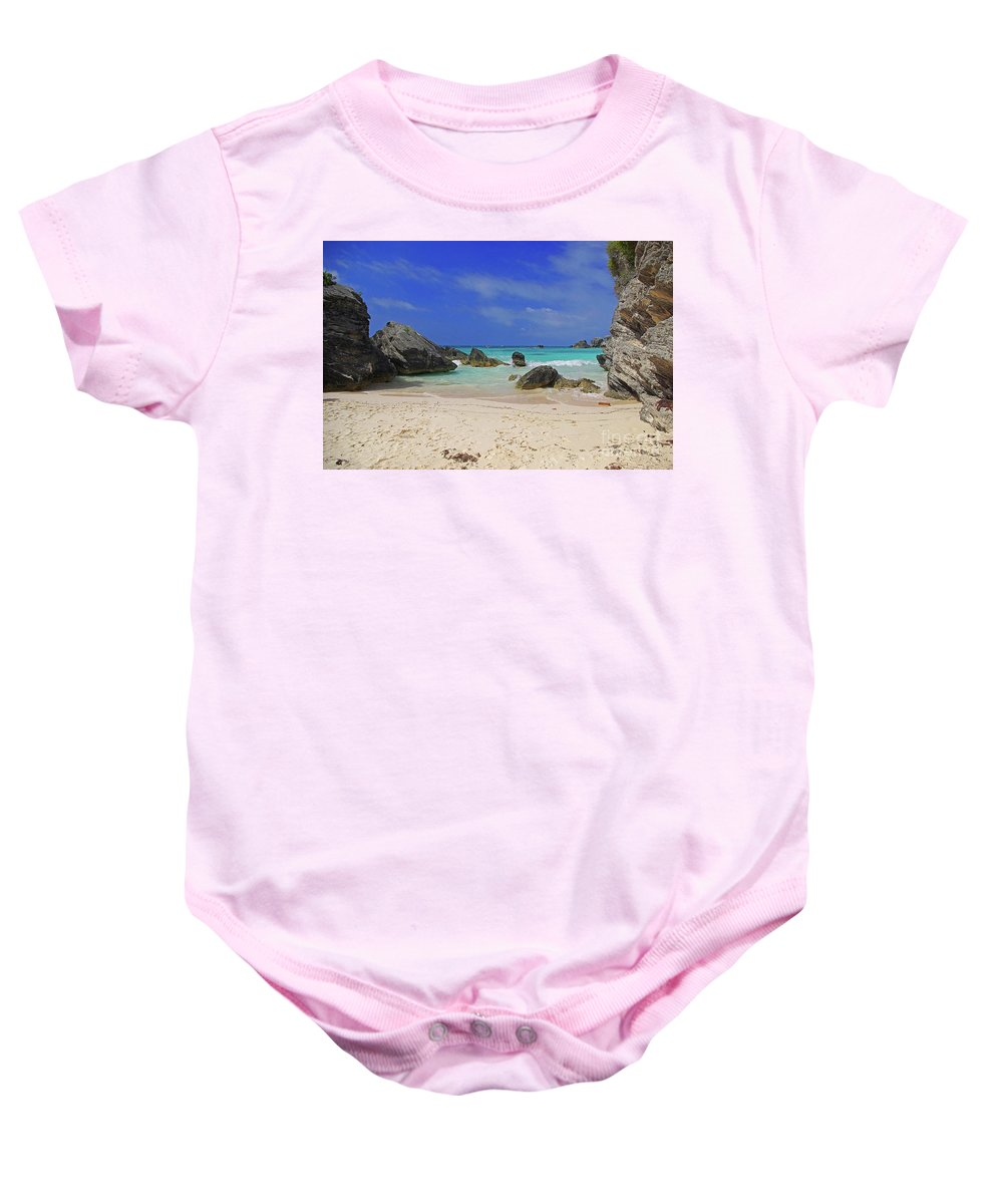 Bermuda Baby Onesie featuring the photograph Horseshoe Beach by Rich Walter