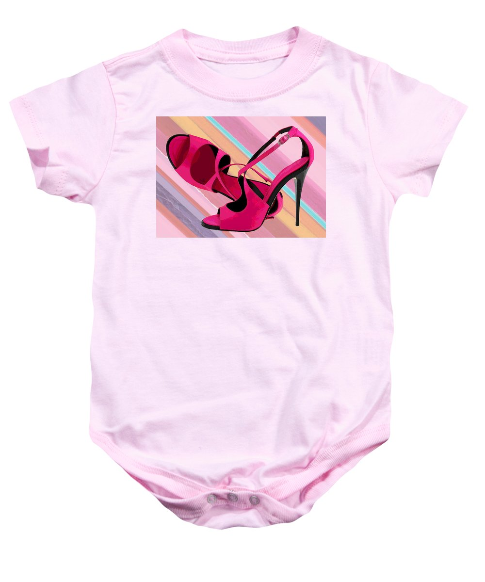 Shoes Heels Pumps Fashion Designer Feet Foot Shoe Baby Onesie featuring the painting Hot Momma's Hot Pink Pumps by Elaine Plesser