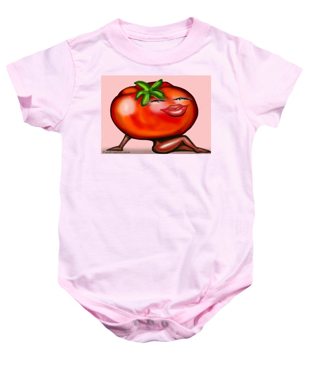 Tomato Baby Onesie featuring the greeting card Hot Tomato by Kevin Middleton