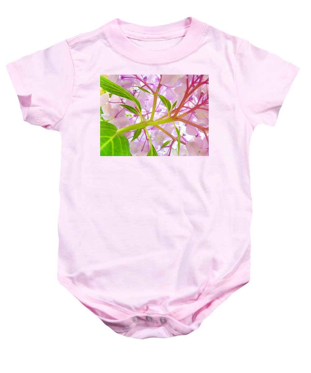 Bright Baby Onesie featuring the photograph Hydrangea Flower Inside Floral Art Prints Baslee Troutman by Baslee Troutman