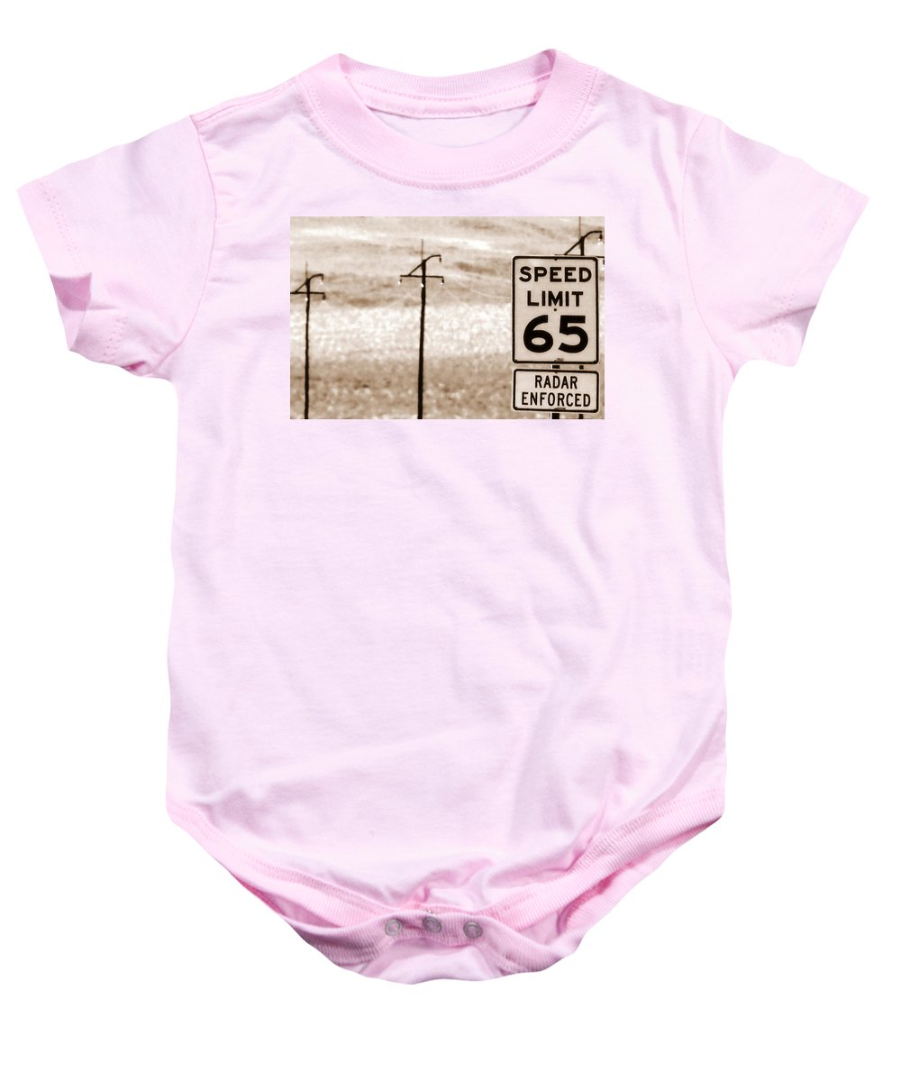 Desert Baby Onesie featuring the photograph I Can't Drive 55 by Ed Smith