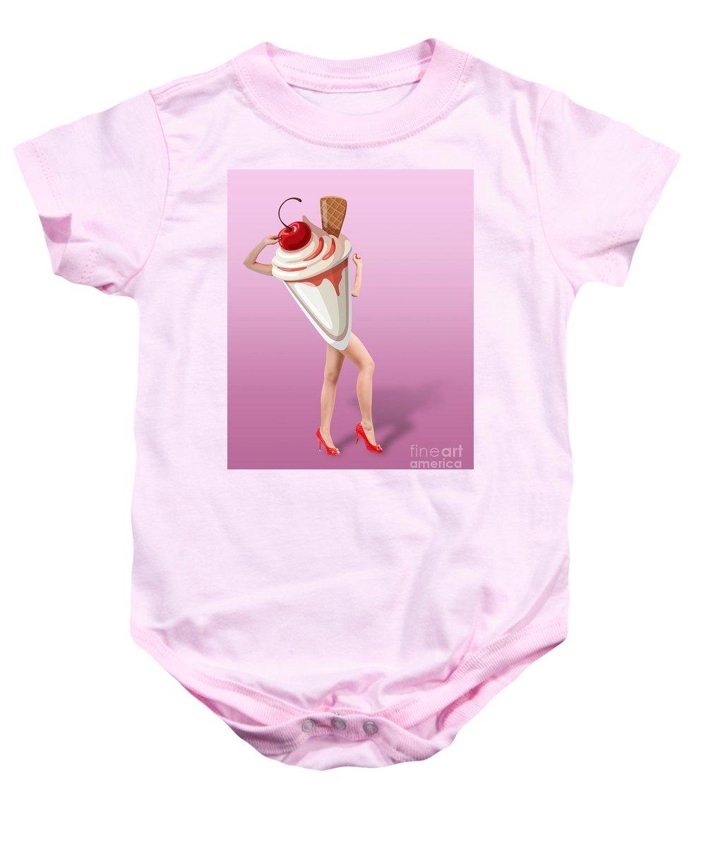 67b7862fe Ice Cream Baby Onesie featuring the digital art Ice Cream Woman 2 by Mark  Ashkenazi