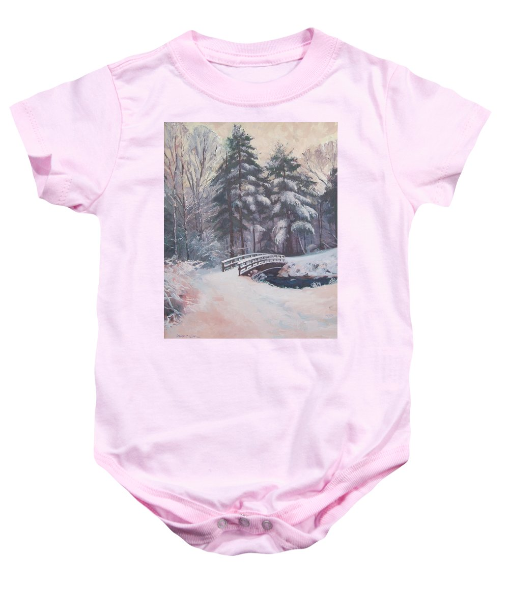 Landscape Baby Onesie featuring the painting Icy Stream by Dianne Panarelli Miller
