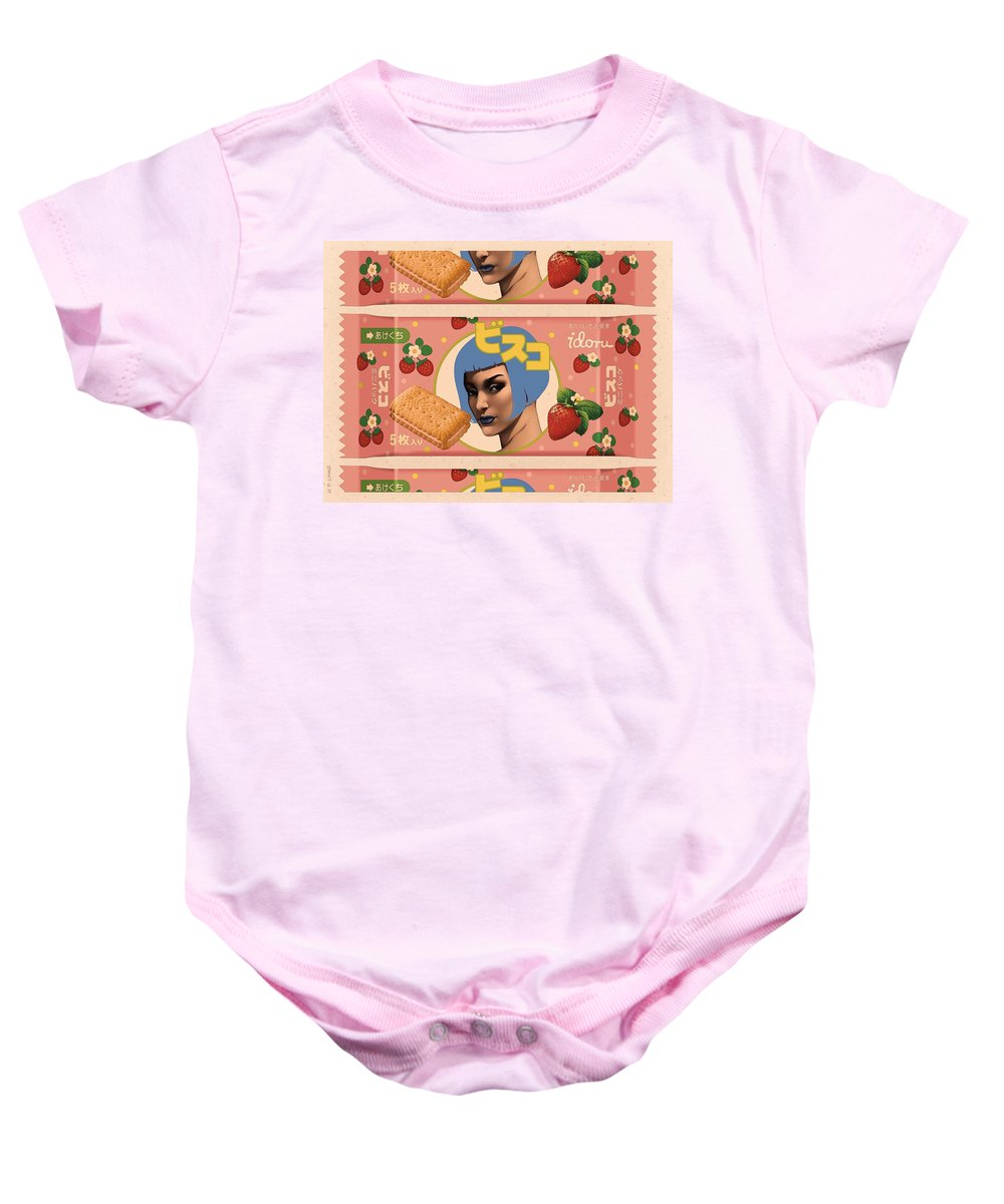 Pop Art Baby Onesie featuring the mixed media Idoru Sweets by Udo Linke