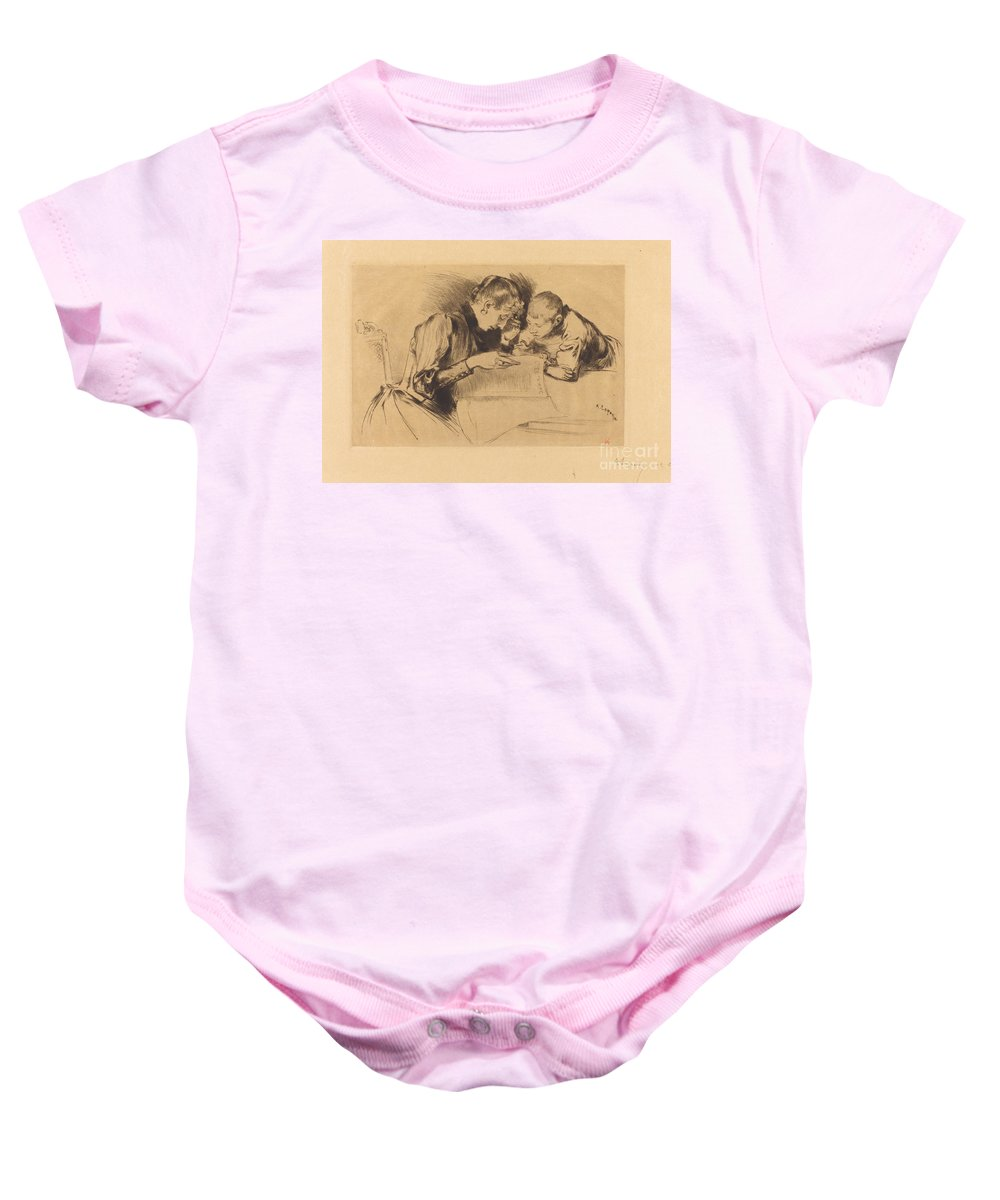 Baby Onesie featuring the drawing Images (les Images) by Auguste Lep?re