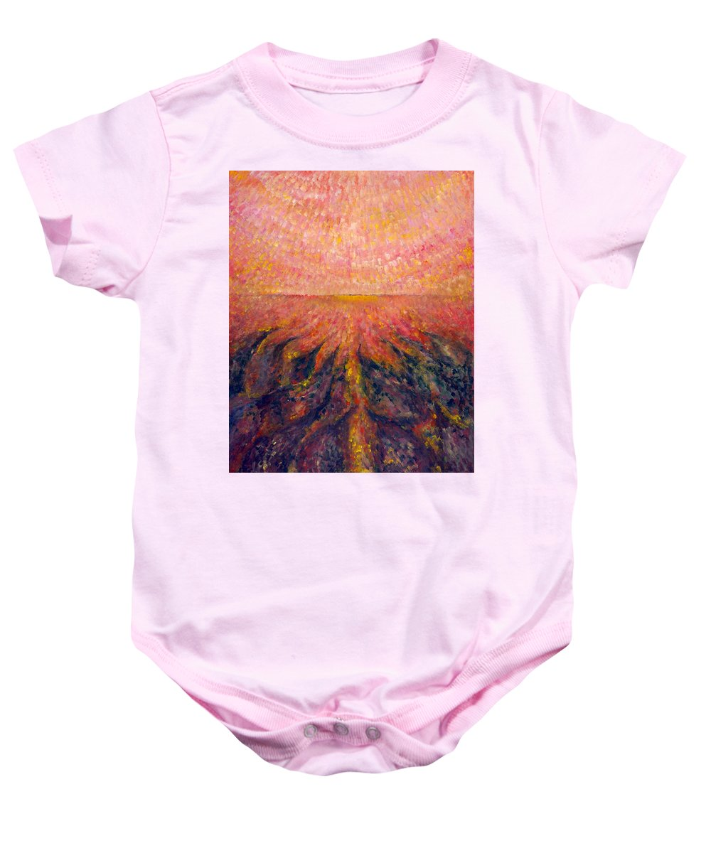 Colour Baby Onesie featuring the painting In Far Road by Wojtek Kowalski