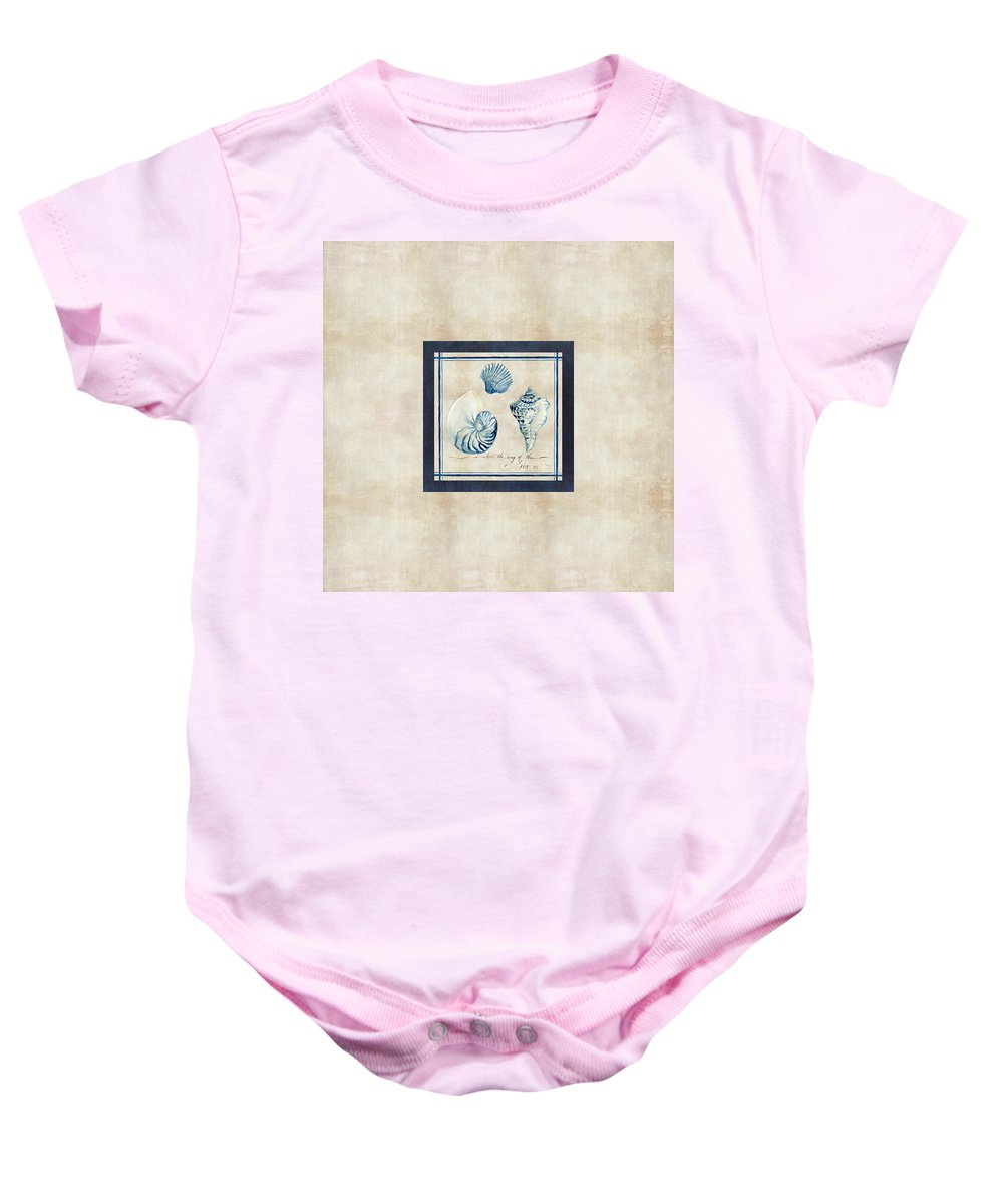Hear The Song Of The Sea Baby Onesie featuring the painting Indigo Ocean - Song Of The Sea by Audrey Jeanne Roberts