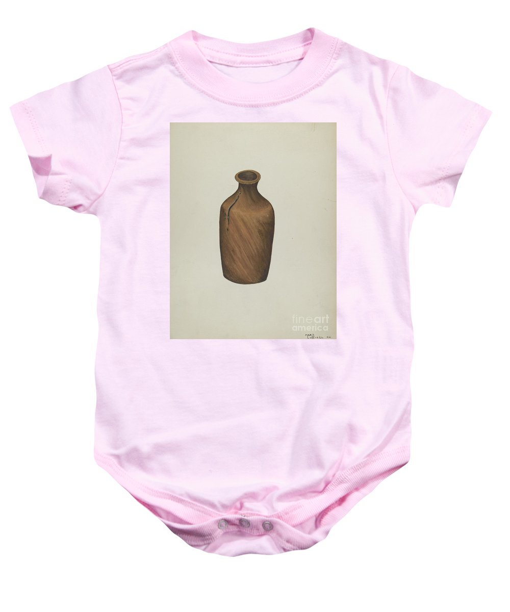 Baby Onesie featuring the drawing Ink Bottle by Marie Lutrell