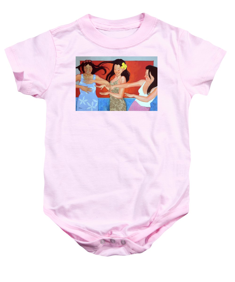 Colorful Baby Onesie featuring the painting It Goes Like This by Naro Naro