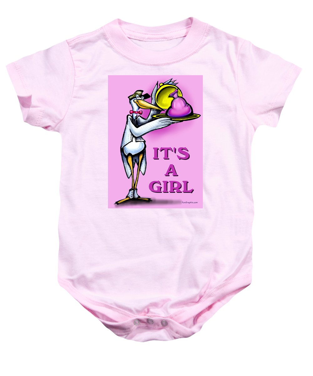 Girl Baby Onesie featuring the greeting card Its A Girl by Kevin Middleton