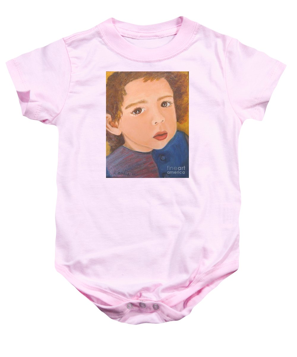 Portrait Baby Onesie featuring the painting Jackson by Laurie Morgan