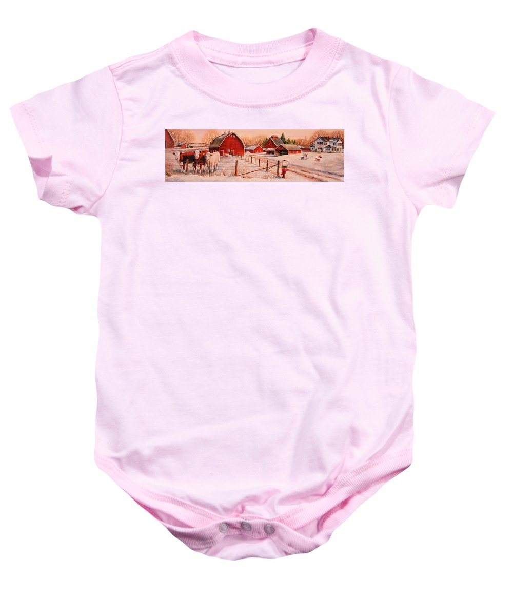 Cows Baby Onesie featuring the painting January Thaw by Toni Grote