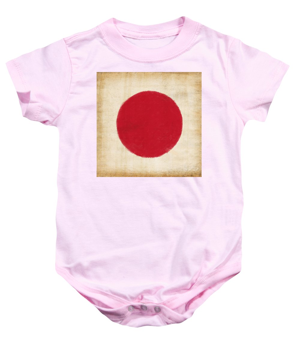 Background Baby Onesie featuring the painting Japan Flag by Setsiri Silapasuwanchai
