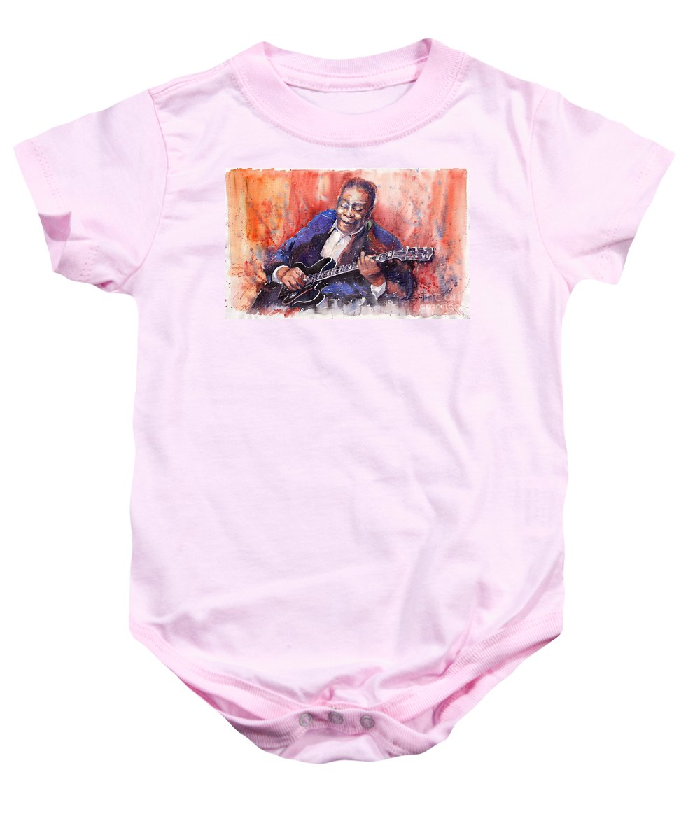 Jazz Baby Onesie featuring the painting Jazz B B King 06 A by Yuriy Shevchuk
