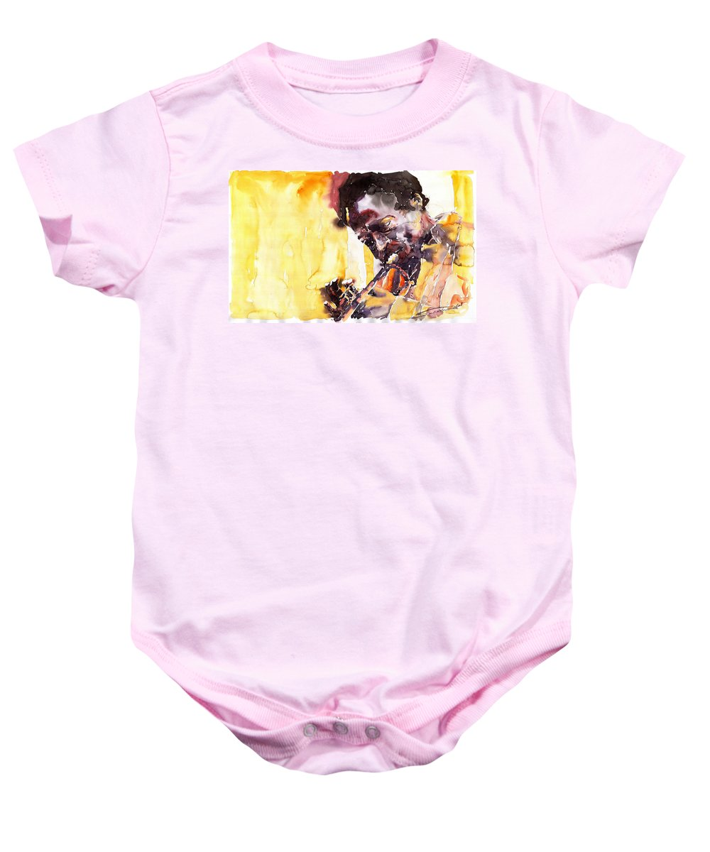 Jazz Music Watercolor Watercolour Miles Davis Trumpeter Portret Baby Onesie featuring the painting Jazz Miles Davis 6 by Yuriy Shevchuk